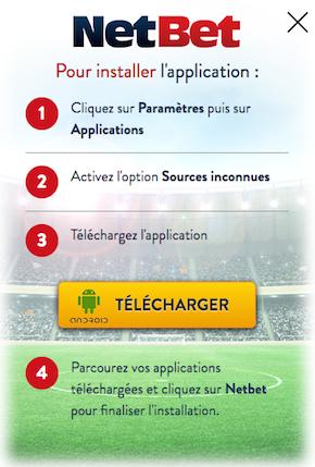 L'application pour Android chez bookmaker NetBet