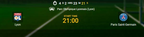 Lyon contre PSG vous laisse profiter de vos paris sportifs chez 1xBet