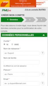 Inscription PMU app