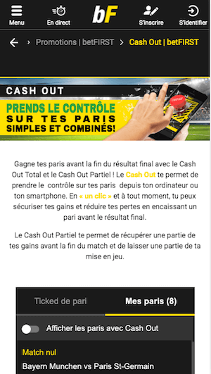 betFIRST Cash Out