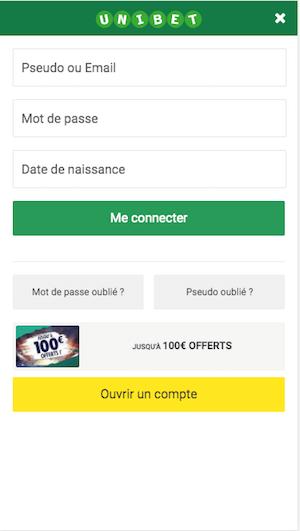 ticket de pari Unibet mobile