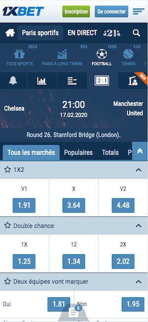 cote 1xbet Chelsea vs Man Utd