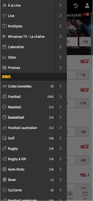 Winamax menu mobile
