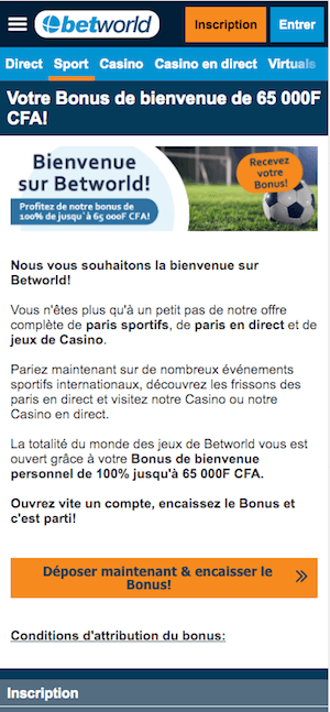 betworld bonus bienvenue
