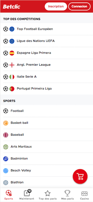 Betclic menu mobile