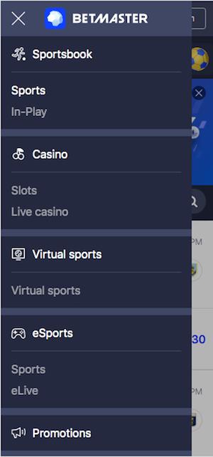 betmaster menu