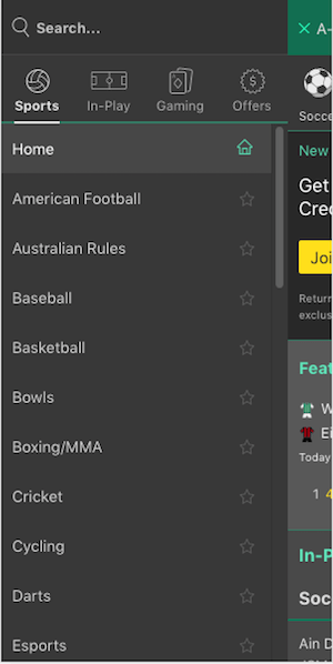 bet365 menu mobile