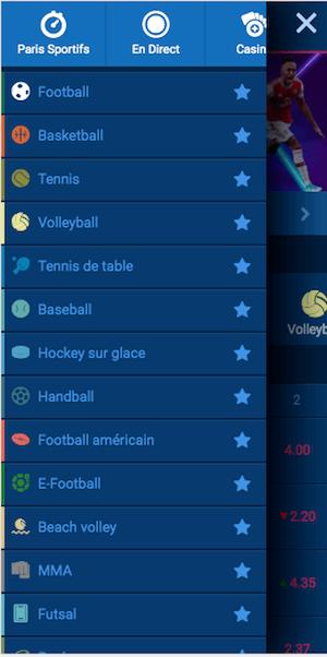 menu bet241 sur mobile