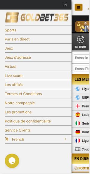 goldbet365 menu mobile