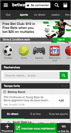 betway mobile page accueil